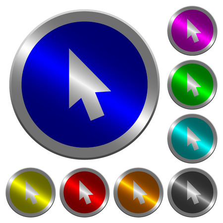 Mouse cursor icons on round luminous coin-like color steel buttons