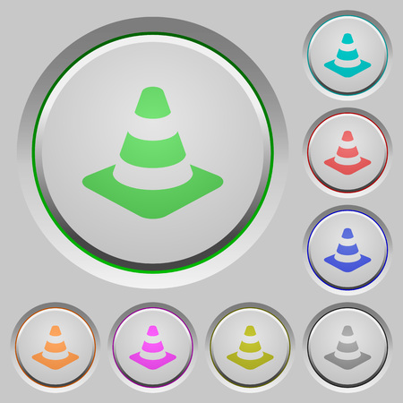 Traffic cone color icons on sunk push buttons