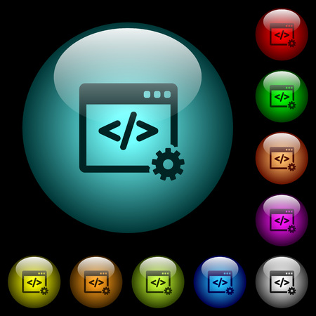 Web development icons in color illuminated spherical glass buttons on black background. Can be used to black or dark templates Vectores