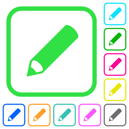 Pencil vivid colored flat icons in curved borders on white background