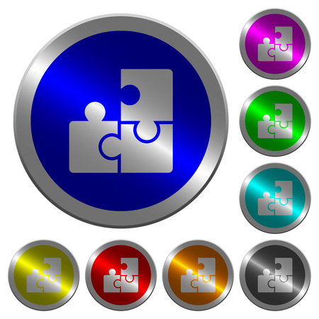 Puzzles icons on round luminous coin-like color steel buttons