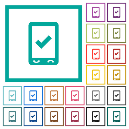 Mobile ok flat color icons with quadrant frames on white background Illustration