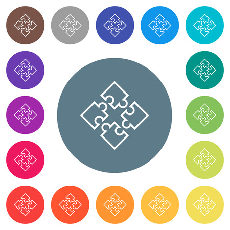 Puzzle pieces flat white icons on round color backgrounds. 17 background color variations are included.