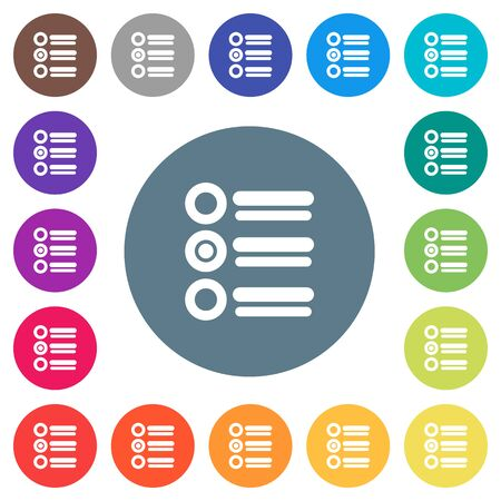 Radio group flat white icons on round color backgrounds. 17 background color variations are included.