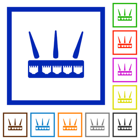 Wireless router flat color icons in square frames on white background Illustration
