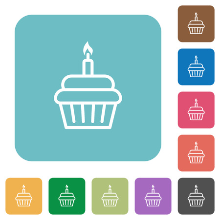 Birthday cupcake white flat icons on color rounded square backgrounds Illustration