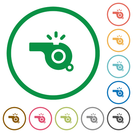 Whistle flat color icons in round outlines on white illustration.