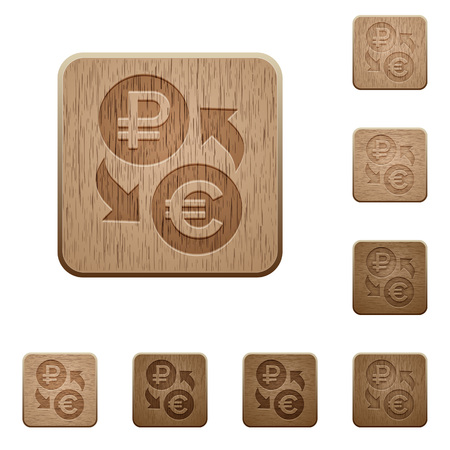 Ruble Euro money exchange on rounded square carved wooden button styles