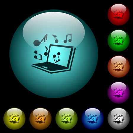 Laptop with music symbols icons in color illuminated spherical glass buttons on black background. Can be used to black or dark templates