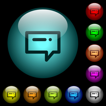Typing message icons in color illuminated spherical glass buttons on black background. Can be used to black or dark templates