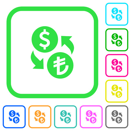 Dollar Lira money exchange vivid colored flat icons in curved borders on white background