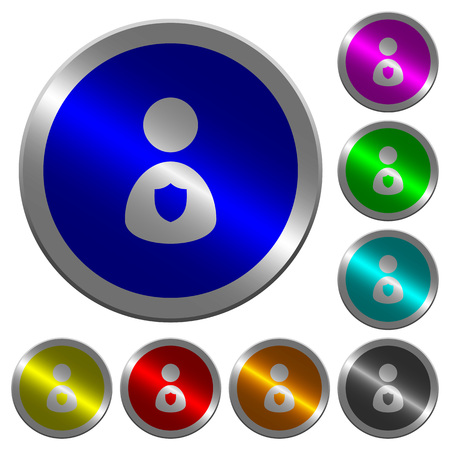 Security guard icons on round luminous coin-like color steel buttons 일러스트