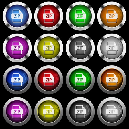 ZIP file format white icons in round glossy buttons with steel frames on black background. The buttons are in two different styles and eight colors.