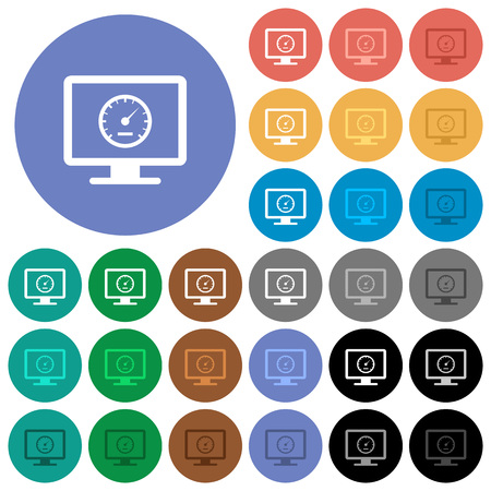 Computer benchmark multi colored flat icons on round backgrounds. Included white, light and dark icon variations for hover and active status effects, and bonus shades on black backgounds. Illustration