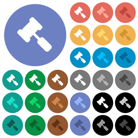 Judge hammer multi colored flat icons on round backgrounds. Included white, light and dark icon variations for hover and active status effects, and bonus shades on black backgounds.