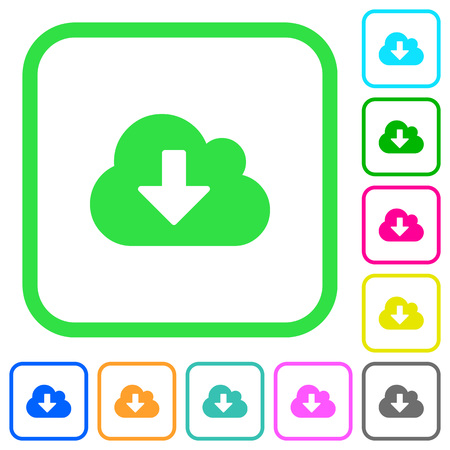 Cloud download vivid colored flat icons in curved borders on white background