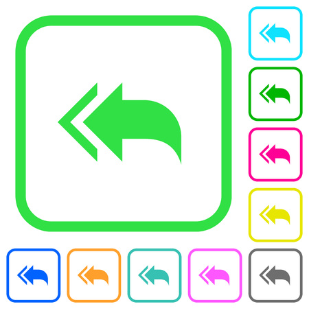 Reply to all recipients vivid colored flat icons in curved borders on white background