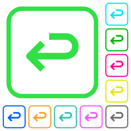 Back arrow vivid colored flat icons in curved borders on white background