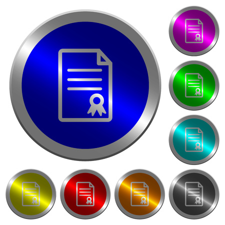 Certificate document icons on round luminous coin-like color steel buttons Vectores