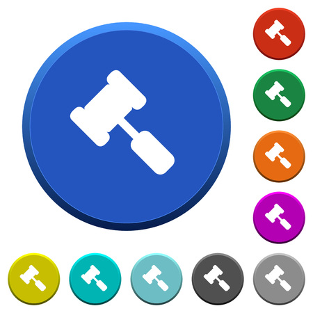 Judge hammer round color beveled buttons with smooth surfaces and flat white icons