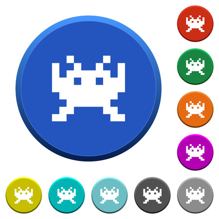 Video game round color beveled buttons with smooth surfaces and flat white icons