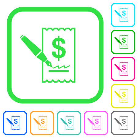 Signing Dollar cheque vivid colored flat icons in curved borders on white background