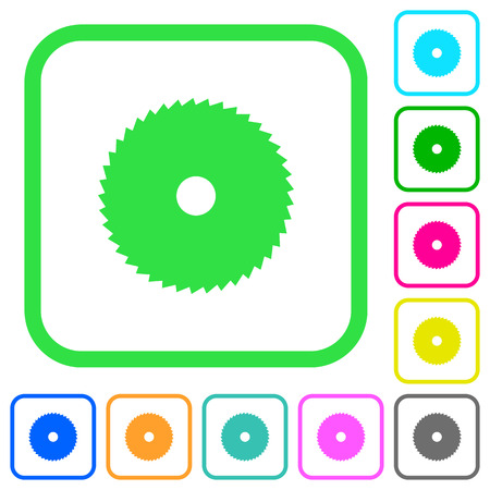 Circular saw vivid colored flat icons in curved borders on white background Ilustrace