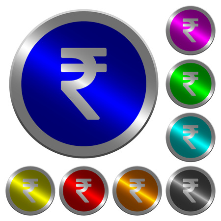 Indian Rupee sign icons on round luminous coin-like color steel buttons.