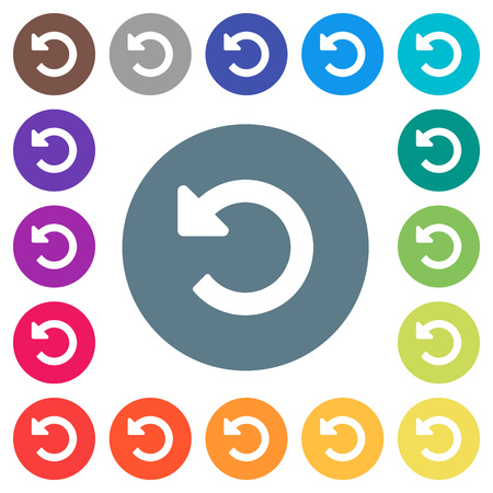 Undo changes flat white icons on round color backgrounds. 17 background color variations are included. 일러스트