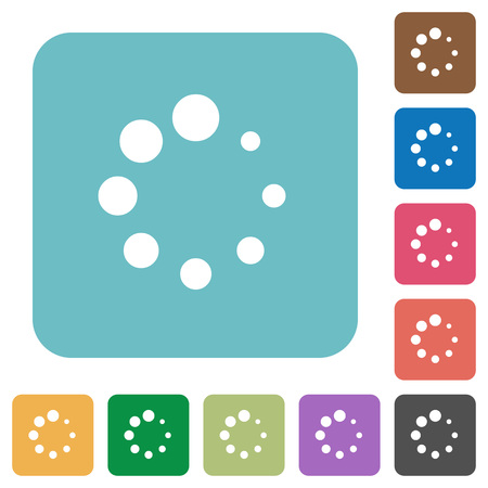 Preloader symbol white flat icons on color rounded square backgrounds Illustration
