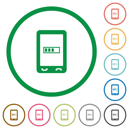 Mobile processing flat color icons in round outlines on white background