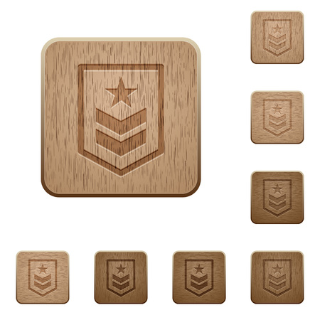 Military rank on rounded square carved wooden button styles