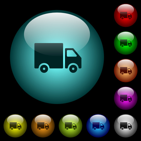 Delivery truck icons in color illuminated spherical glass buttons on black background. Can be used to black or dark templates