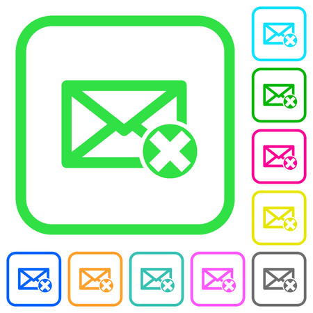Delete mail vivid colored flat icons in curved borders on white background