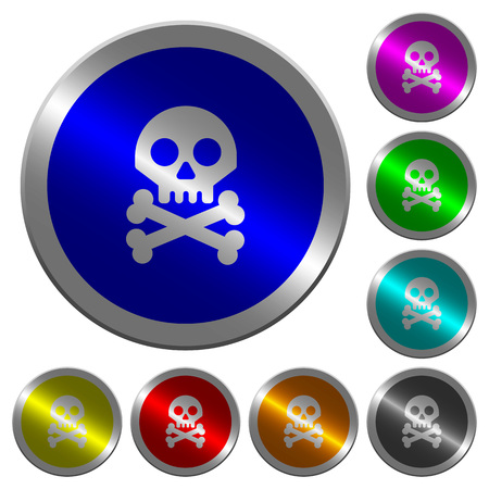 Skull with bones icons on round luminous coin-like color steel buttons Ilustracja