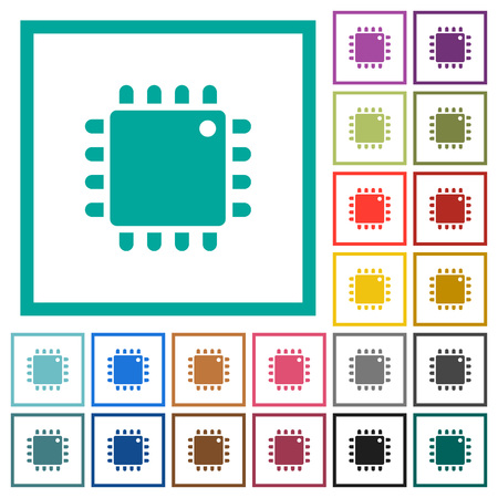 Computer processor flat color icons with quadrant frames on white background Иллюстрация