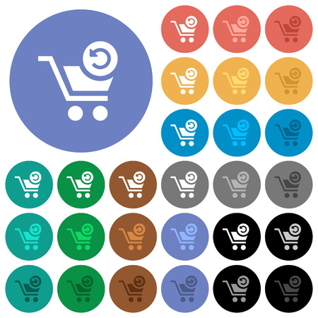 Undo last cart operation multi colored flat icons on round backgrounds. Included white, light and dark icon variations for hover and active status effects, and bonus shades on black backgounds.