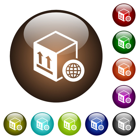 Worldwide package transportation white icons on round color glass buttons Illustration
