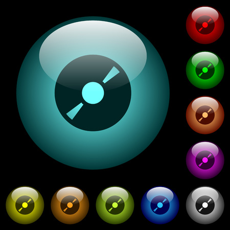 DVD disk icons in color illuminated spherical glass buttons on black background. Can be used to black or dark templates