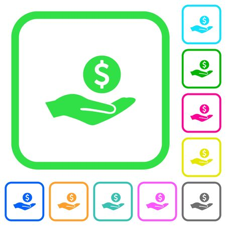 Dollar earnings vivid colored flat icons in curved borders on white background.