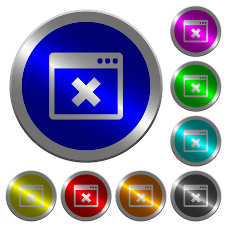 Application cancel icons on round luminous coin-like color steel buttons.
