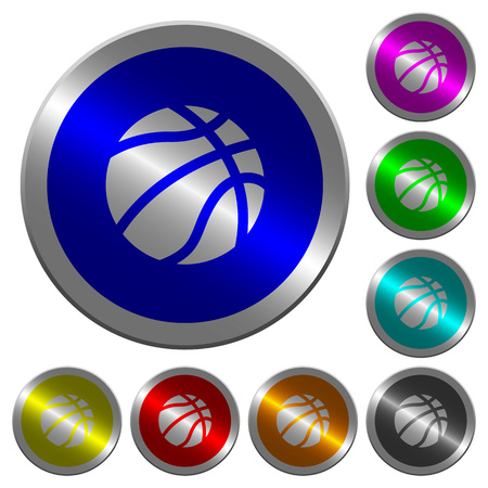 Basketball icons on round luminous coin-like color steel buttons.