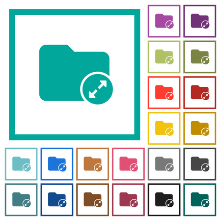 Uncompress directory flat color icons with quadrant frames on white background Illustration