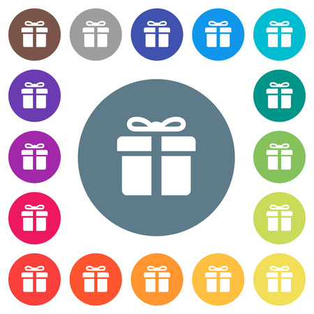 Gift box flat white icons on round color backgrounds. 17 background color variations are included.