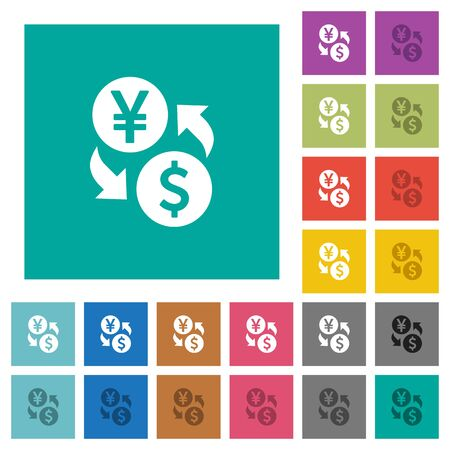 Yen Dollar money exchange multi colored flat icons on plain square backgrounds. Included white and darker icon variations for hover or active effects.
