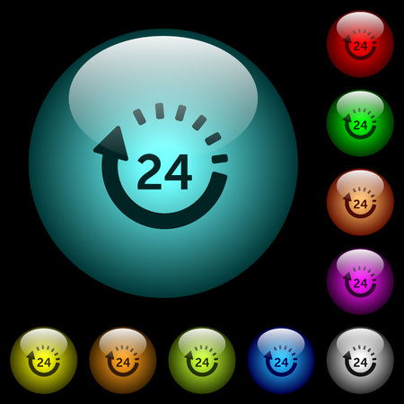 24 hour delivery icons in color illuminated spherical glass buttons on black background. Can be used to black or dark templates