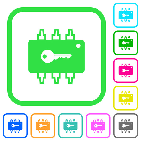 Hardware security vivid colored flat icons in curved borders on white background
