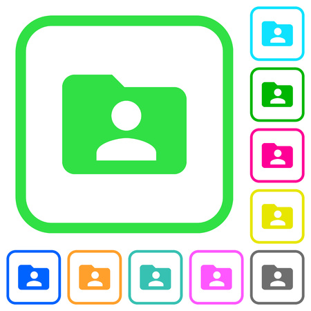 Folder owner vivid colored flat icons in curved borders on white background