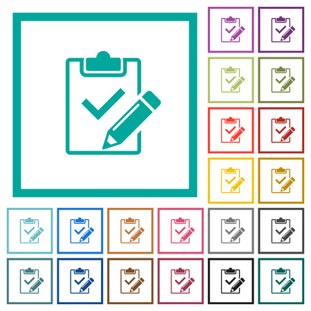 Fill out checklist flat color icons with quadrant frames on white background Ilustração