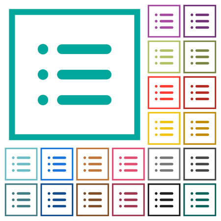 Unordered list flat color icons with quadrant frames on white background
